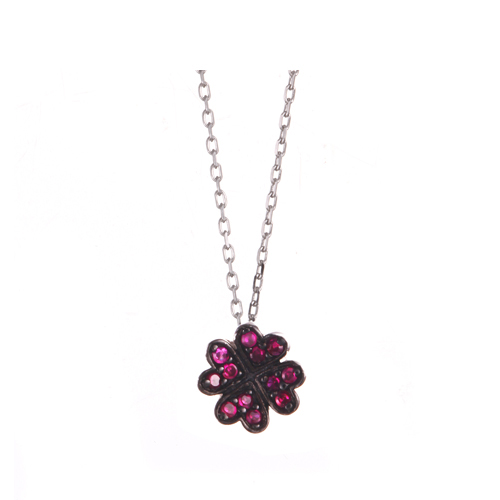 (silver92.5%,루비원석)럭키 핑크 클로버 네클레스Lucky Pink Clover Necklace