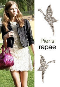 나비 꽃 이어링Pieris Rapae  Pierced Earrings