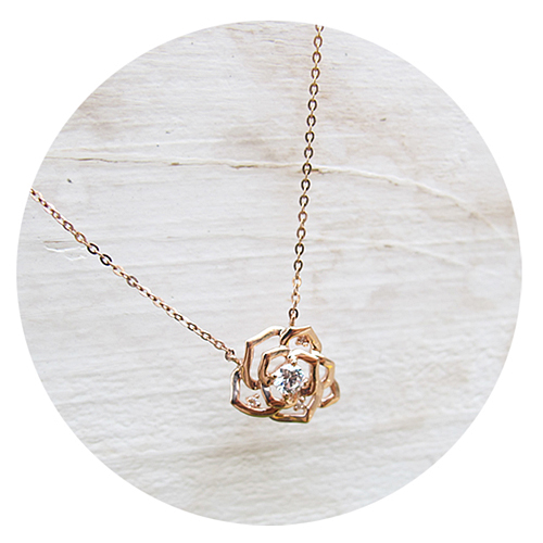 (14K/18KGold)미니멀 로즈 목걸이 14k/18k Minimal Rose Necklace j2747