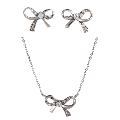 (Silver)미니 리본 이어링 네클레스 세트 Mini Ribbon Pierced Earrings and Necklace