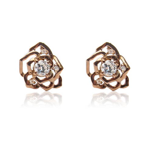 [14K Gold] 베이비 로즈 귀걸이 Baby Rose Earrings no.37