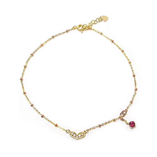 [14K Gold] 하트 인 하트 발찌 Heart in Heart Anklet no.14