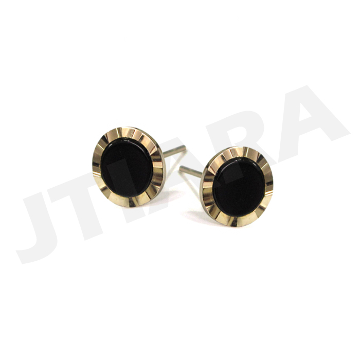 [men's Line][14K골드] 블랙 오닉스 귀걸이 Black Onyx Earring no.59