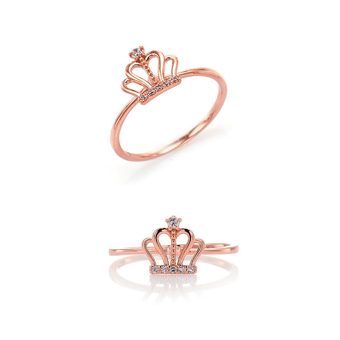 [14K Gold] 큐트 크라운 하트 반지 Cute Crown Heart Ring no.j3703