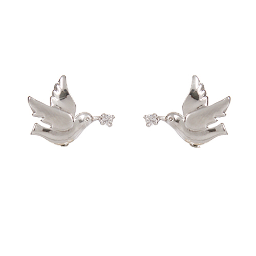 (Silver)피스 버드 귀걸이 Peace Bird Pierced Earrings