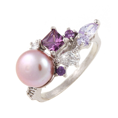 (Silver)미니번치 퍼플글래스 링 Mini Bunch purple Grass Pearl Ring