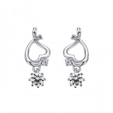[14K Gold]밀키 하트 이어링Milky heart earrings j3648