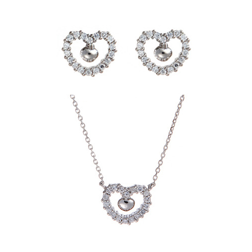 (Silver)니콜 이어링 네클레스 세트 Nicole Pierced Earrings and Necklace