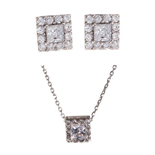 (Silver)미니 스퀘어 이어링,네클레스 세트 Mini Square Pierced Earrings and Necklace